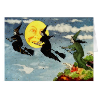Witch Flying Broom Man In The Moon Sky Card
