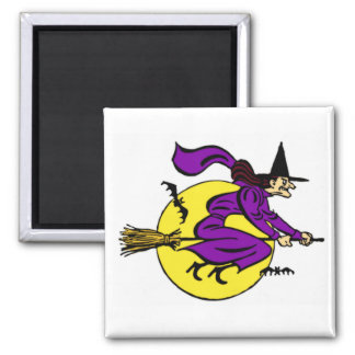 Witch Flying By Full Moon Square Magnet