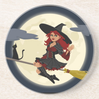 Witch Flying Beverage Coasters