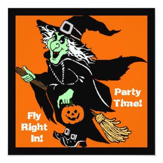 Witch Flying Halloween Cartoon 13 Cm X 13 Cm Square Invitation Card