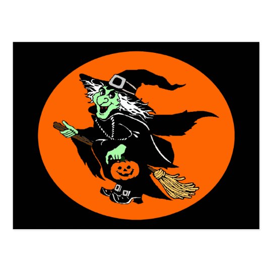 Witch Flying Halloween Oval Cartoon Postcard