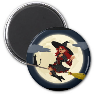 Witch Flying Refrigerator Magnet