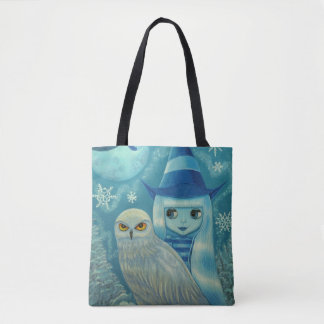 Witch Girl and Snowy Owl Friend Winter Snowflakes Tote Bag