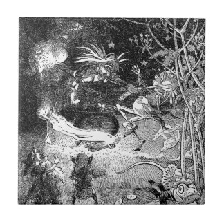 Witch, Gnomes and Fleeing Frog Small Square Tile
