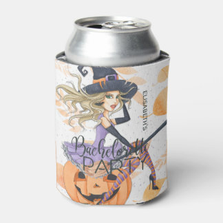 Witch Halloween bachelorette wicked girls night Can Cooler