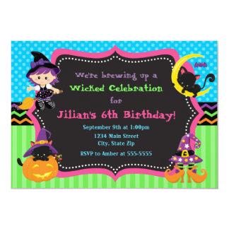 Witch Halloween Birthday Party Invitation