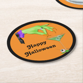 Witch Hand Bile and Eyeball Cocktail Halloween Round Paper Coaster