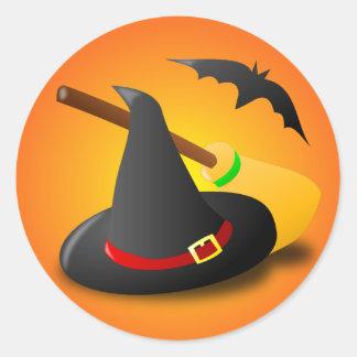 Witch Hat Broom Orange Gradient Classic Round Sticker