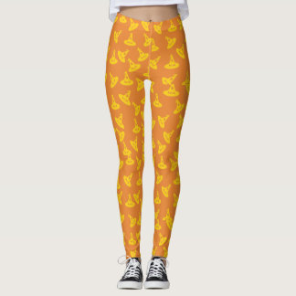 Witch Hat Confetti Leggings - Gold/Orange