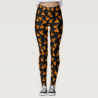 Witch Hat Confetti Leggings - Orange/Black