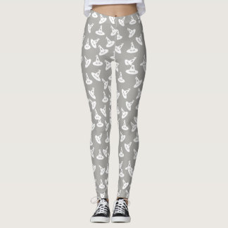 Witch Hat Confetti Leggings - White/Gray