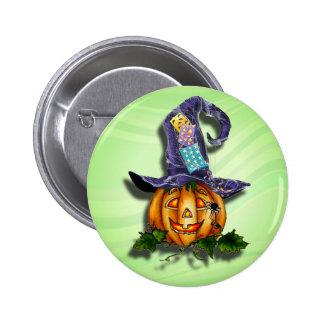 WITCH HAT & JACK by SHARON SHARPE 6 Cm Round Badge