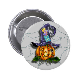 WITCH HAT, JACK & SPIDER WEB by SHARON SHARPE 6 Cm Round Badge
