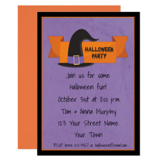 Witch Hat with Banner Halloween Party Invitation