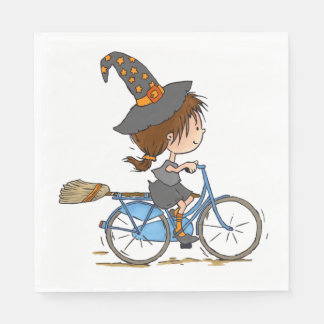 Witch in bike - napkin paper napkin