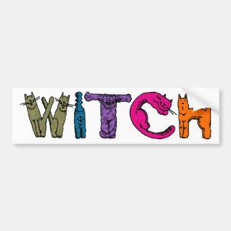 """""""Witch"""" in Cat Letters - Bumper Sticker 2"""