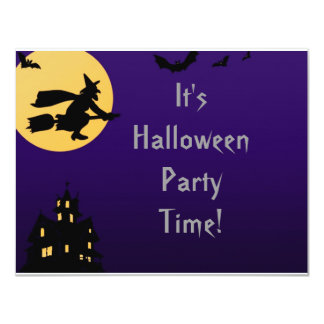 """""""Witch In Flight at Midnight"""" - Halloween Party Card"""