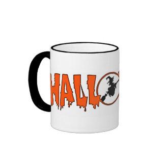 Witch In Halloween Greeting Ringer Mug