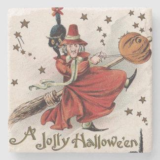 Witch Jack O Lantern Black Cat Stars Stone Coaster