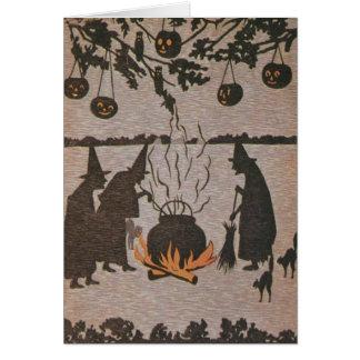 Witch Jack O' Lantern Cauldron Owl Greeting Card