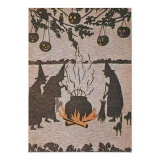 Witch Jack O' Lantern Cauldron Owl 13 Cm X 18 Cm Invitation Card