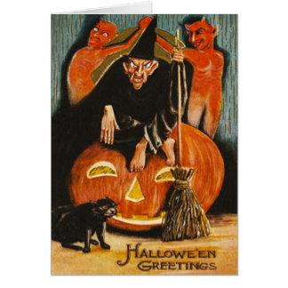 Witch Jack O Lantern Devil Demon Black Cat Greeting Card