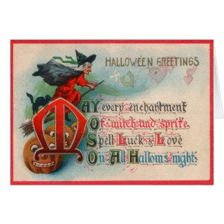 Witch Jack O Lantern Pumpkin Greeting Card