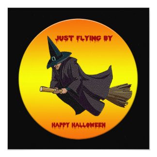 Witch Just Flying By Halloween Party Invitations