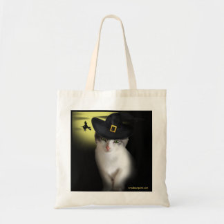 Witch Kitten Halloween Tote Budget Tote Bag