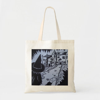 witch knarled hand haunted house trick or treat tote bag