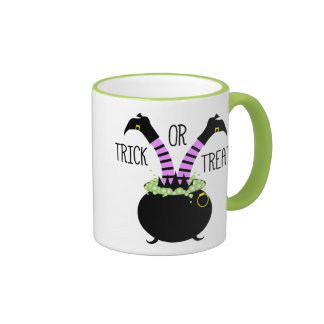 Witch Legs in Black Pot I Trick or Treat Ringer Coffee Mug