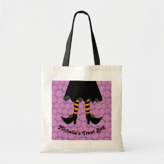 Witch Legs Personalized Halloween Trick or Treat Tote Bag