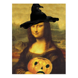 Witch Mona Lisa Autumn Altered Art by crc Postcard