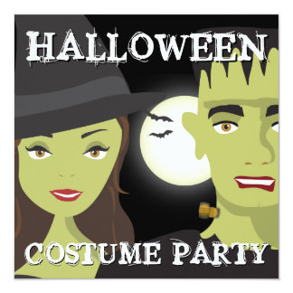 Witch & Monster Adults Halloween Costume Party 5.25x5.25 Square Paper Invitation Card