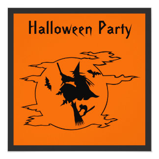 "Witch & Moon Halloween Party 5.25"" Square Invitation Card"