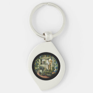 Witch Offering Pear not Apple to Princess Silver-Colored Swirl Key Ring