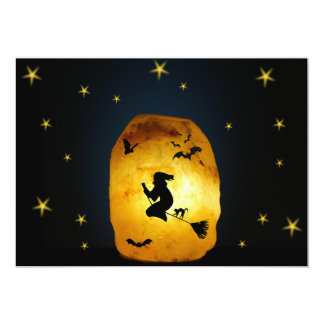 Witch on a broom 13 cm x 18 cm invitation card