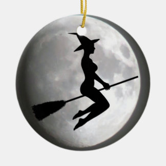 Witch On a Broom Against the Moon Round Ornament