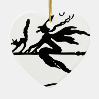 Witch On A Broom Ceramic Ornament
