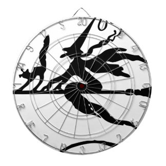 Witch On A Broom Dartboard With Darts