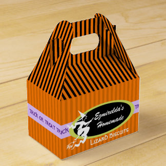 Witch on a Broom Trick or Treat Wedding Favor Boxes