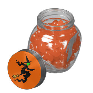 Witch On A Broomstick Halloween Candy Bar Glass Jars