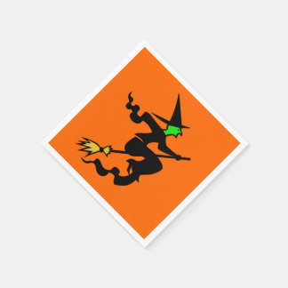 Witch On A Broomstick Halloween Party Napkins Paper Napkin