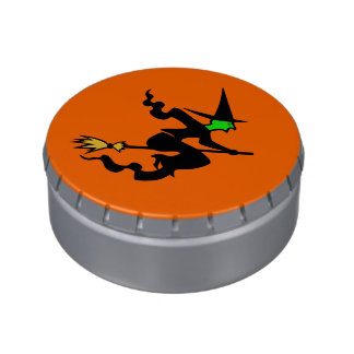 Witch On A Broomstick Halloween Party Treats Jelly Belly Candy Tin