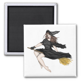 Witch on a Broomstick Fridge Magnet