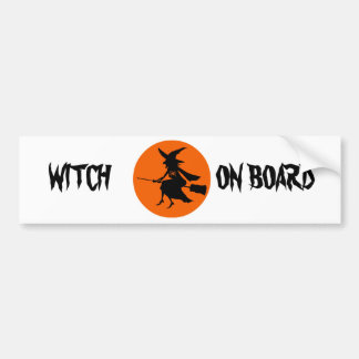 WITCH ON BOARD BUMPER STICKER