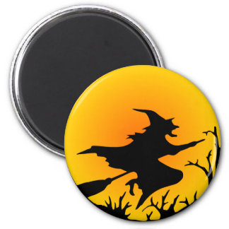 Witch On Broom 6 Cm Round Magnet