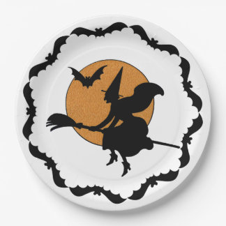 Witch on Broom Halloween Plates