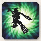 Witch on Broom Silhouette Coaster
