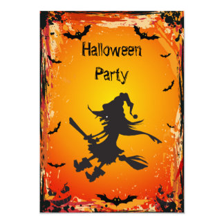 Witch on Broomstick & Bats Halloween Party 13 Cm X 18 Cm Invitation Card
